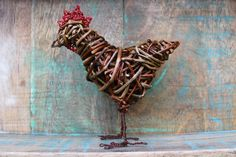 Mini sculpture. Willow hen with wire comb and leg detail. Rachel Bower
