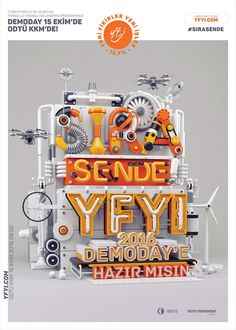 YFYI Campaign 2016 (It& your turn!) for Imalathane Turkey Ad Design, Print Design, Graphic Design, Display Design, 3d Typography, Lettering, 3d Modellierung, Ri Happy, 3d Poster