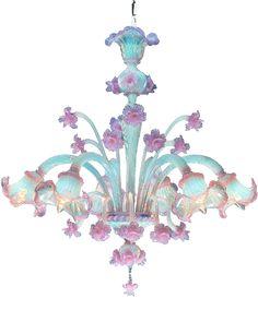Murano Opale Rose 6 lights Chandelier - so over-the-top opulent and feminine! Italian glassmaking at its finest! Murano Chandelier, Chandeliers, Chandelier Lighting, Painted Chandelier, Lustre Vintage, Dream Decor, Oil Lamps, Beautiful Lights, Murano Glass
