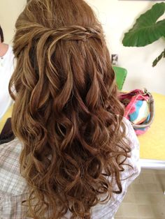 simple hair half up naturally curly - Google Search