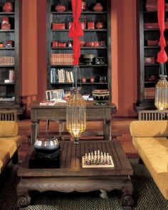 Anantara Bophut Resort & Spa  ( Koh Samui, Thailand )  The quiet library is dressed with southern Thai-inspired antiques and bold red accents. #Jetsetter