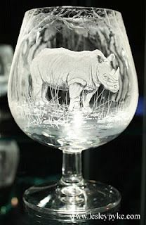 Glass engraving by Lesley Pyke
