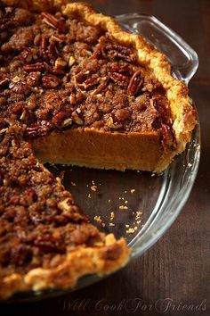 Pumpkin Pie with Pecan Streusel Topping...making this one for my hubby this weekend! he asked for a pumpkin pie with pecans lol!