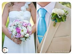 Pink and white wedding bouquet and teal tie with boutonniere | D Coleman Photography