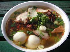 #KiaoNam - 20 pieces soft wonton skins  6 ounces chopped chicken  6 ounces spinach  4 ounces nam pla  ¼ teaspoon roasted garlic,etc.......