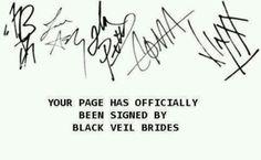 Black Veil Brides' signatures