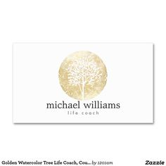 Golden Watercolor Tree Life Coach, Counselors Double-Sided Standard Business Cards (Pack Of 100)