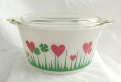"""Vintage 1950s/60s Pyrex Covered Casserole """"Lucky In Love"""" #Pyrex"""
