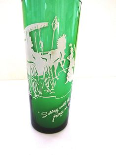Vintage Anchor Hocking Forest Green Drinking Glass Surrey With The Fringe on Top #AnchorHocking