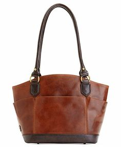"""Tignanello Handbag, Vintage Classics Leather Dome Shopper Web ID: 983784 - $109.99 at Macy's - 14"""" W x 8"""" H x 5-1/2"""" D - Gold-tone hardware; back zip pocket, 2 side slip pockets, front slip pocket Interior features middle zip compartment, zip pocket and 2 slip pockets - Vintage vibe chic shopper. Styled in luxe, lived-in leather with sturdy straps, the spacious interior carries off your work-to-weekend essentials. Leather. Double top handles with 10"""" drop Magnetic snap closure."""