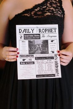 This wedding was very darkly glam and featured Harry Potter-inspired details throughout. Our favorite was this Daily Prophet wedding program. Genius! @myweddingdotcom