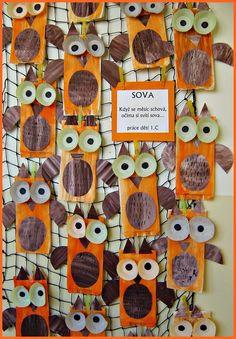 Pin by jitka b. on pč owl crafts, fall crafts for kids, crafts for kids. Autumn Crafts, Fall Crafts For Kids, Art For Kids, Bird Crafts, Animal Crafts, E Craft, Craft Projects, Crafts For 2 Year Olds, Xmas Tree Decorations