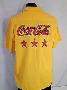 #Vintage 80's #coca-cola men #yellow coke hawaiian loop collar camp surf shirt l,  View more on the LINK: http://www.zeppy.io/product/gb/2/121878307470/