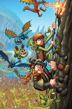 A cartoon version of Hiccup and Snotlout experiencing a dragon fiasco while scaling a cliff! lol
