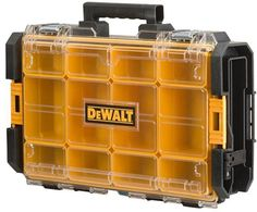 Model Dewalt ToughSystem 22 in. Case with Clear Lid. ToughSystem 22 in. Clear lid made of polycarbonate for resistance and full content visibility. Stacking latches allow attaching organizers or other tough system tool boxes to it. Dewalt Cordless Tools, Dewalt Power Tools, Dewalt Storage, Tool Storage, Dewalt Tough System, Hardware Organizer, Mobile Workshop, Mechanic Tools, Dopp Kit