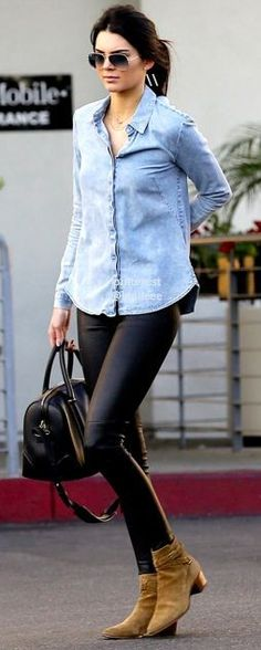 #casualoutfits #spring   Chambray + Leather   Kendal Jenner
