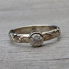 Delicate Moissanite and Recycled 14k White by mcfarlanddesigns, $628.00