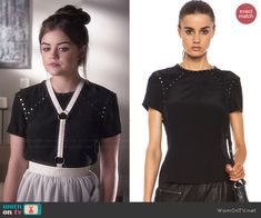 Aria's black studded top and white harness skirt on Pretty Little Liars.  Outfit Details: http://wornontv.net/46023/ #PLL