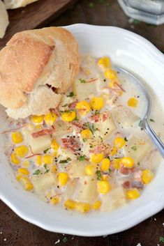 Slow Cooker Corn Chowder with Potatoes and Ham | This crock pot recipe is the perfect comfort food for dinner!