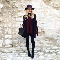 «B u r g u n d y #outfit #todayimwearing • cape #zara • pull #mango • jean #mango • cuissardes #elizabethstuart • chapeau #maisonmichel • broche #chanel •…»