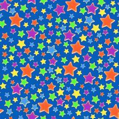 Stoff'n Stoffdesign: Bunte Sterne auf blauem Hintergrund