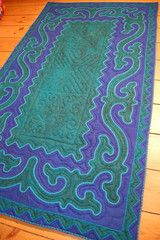 Blue & Green Handmade Shyrdak Felt Rug