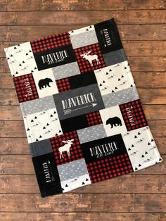 Ipad Discover Personalized Baby Blanket Quilt Print Newborn Swaddle Red and Black Woodland Adventure Little Man Buffalo Plaid Bear Moose Baby Boy Quilt Patterns, Baby Boy Quilts, Fleece Baby Blankets, Soft Blankets, Fleece Hats, Receiving Blankets, Plaid Nursery, Moose Nursery, Nursery Bedding