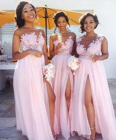 Lace Appliqued Sexy Bridesmaid Dresses,Pink Bridesmaid Dresses,Long Bridesmaid Dresses with Slit,APD2254