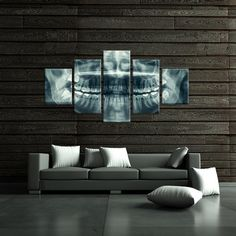 Want to spice up your walls and add some liveliness to your dental office? This dental x-ray of a human mouth canvas art set is sure to get people talking. Perfect for a dentist's office or anyone that likes a conversation piece. Dental Logo, Dental Art, Implants Dentaires, Dental Implants, Dental Surgery, Surgery Humor, Dental Hygienist, Dental Office Decor, Dental Offices