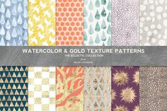 Watercolor & Gold Texture Patterns by Blixa 6 Studios on @creativemarket
