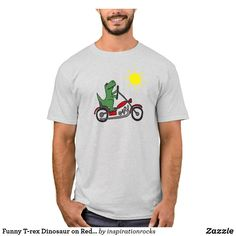 Funny T-rex Dinosaur on Red Motorcycle T-Shirt T Rex Humor, Red Motorcycle, Dark Colors, Tshirt Colors, Colorful Backgrounds, Fitness Models, Unisex, Funny, Casual