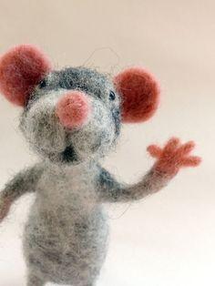 Grey Mouse Needle Felt Sculpture. OOAK by BuzzyFeltz on Etsy