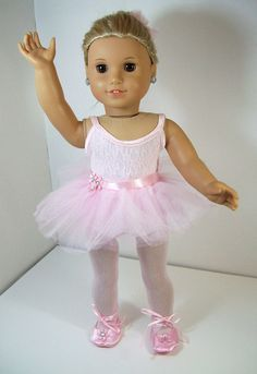 American Girl Doll Ballerina Outfit Includes Five Piece, Pink Leotard, Tutu, Ballerina Slippers, Tights and Hair Clip, Fits 18 inch Dolls