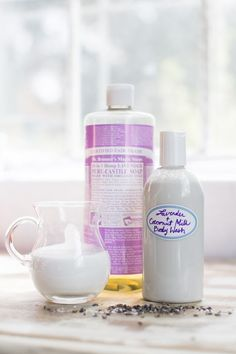 Mix together a 1/4 cup full fat coconut milk with 1/3 cup liquid castile soap. I love Dr. Bronner's. You can use lavender scented soap or add essential oils for a relaxing scent. Combine in a squeeze bottle and lather up. The mixture tends to separate a bit after sitting so you might need to shake it up a bit before using. Oh, and this can also be used as shampoo!