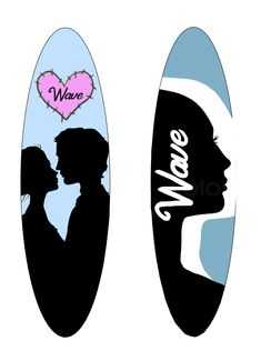 8th personal wave surfboard designs, using online vectors