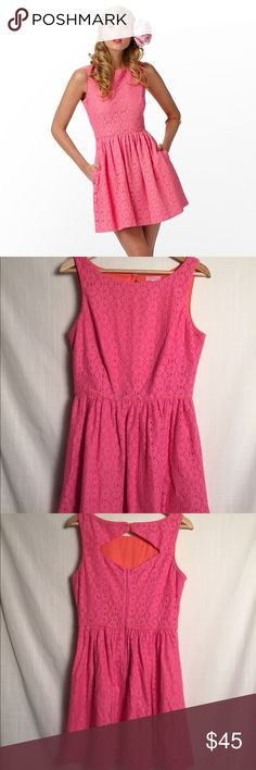 """Lilly Pulitzer Aleesa Hottie Pink Sundress Lilly Pulitzer hottie pink Aleesa lace sundress, size 8. Diamond cutout detail in the back and it has pockets! Measurements are:                  Armpit to armpit 17"""" Waist 14"""" Shoulder to hem 34"""" Lilly Pulitzer Dresses Mini"""