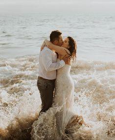 Wedding dress trash the dress ocean beach wedding elopement
