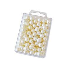 Dekoperlen 10 mm zum Fädeln - Box mit ca. 115 Stück - creme