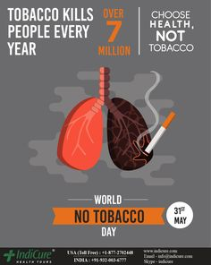 Tobacco kills over 7 million people every year, of which close to are non-smokers dying from breathing second-hand smoke. Say no to cigarettes and other forms of tobacco. Quit Smoking Motivation, World No Tobacco Day, Best Hospitals, Best Doctors, Smokers, Health Tips, Tourism, Medical, Branding