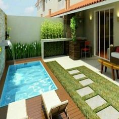 Like everything around us, the concept of the swimming pool design too is undergoing major changes. From being a rectangular pool of water it has evolved into a style statement. A swimming pool in the house is an extension of… Continue Reading → Small Swimming Pools, Small Backyard Pools, Backyard Patio Designs, Small Pools, Swimming Pools Backyard, Swimming Pool Designs, Small Patio, Backyard Landscaping, Kleiner Pool Design