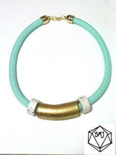 MINT ROPE NECKLACE - gold and white porcelain beads by SofiMoukidouJewels on Etsy https://www.etsy.com/il-en/listing/175972793/mint-rope-necklace-gold-and-white