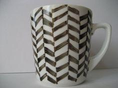 Herringbone mug Black and White by BInYourBonnet on Etsy, $8.00