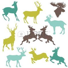 Set of Reindeer Christmas Silhouettes - for your design or scrapbook photo