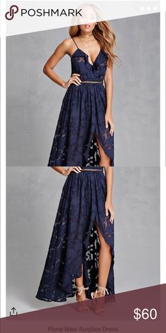 Navy surplice floral maxi, NWT Cute forever21 maxi in a floral textured fabric. Bottom is lined, back zipper, runs true to size and has adjustable straps. Available in small, medium and large. Forever 21 Dresses Maxi