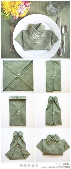 Leuke manier om een servet te vouwen; stap 5 een jurkje en stap 6 een overhemd ;-)