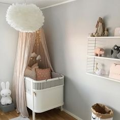 Love this cute little girl's room! String Pocket shelf, Vita Eos lamp and Miffy lamp are all available at www.istome.co.uk