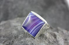 Violet Agate Big Sterling Silver Cocktail Ring by ManariDesign, $70.00