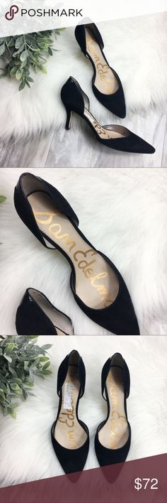 Sam Edelman 'Delilah' Black D'orsay Heels EUC Sam Edelman Delilah d'orsday style heels. The cut adds to the allure of a pouty toe pump made out of gorgeous suede. Size 8.5, true to size.   *4 inch heel  *Leather upper/synthetic lining and sole Sam Edelman Shoes Heels
