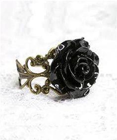 Black Gothic Rose Ring <3