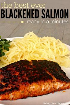 Best Blackened Salmon Recipe - Ready in just 6 minutes! - - You are going to love this easy baked blackened salmon recipe.This is the best blackened salmon recipe. It is the best way to cook salmon! Salmon Dishes, Fish Dishes, Seafood Dishes, Seafood Recipes, Cooking Recipes, Salmon Meals, Cooking Hacks, Crockpot Recipes, Best Fish Recipes